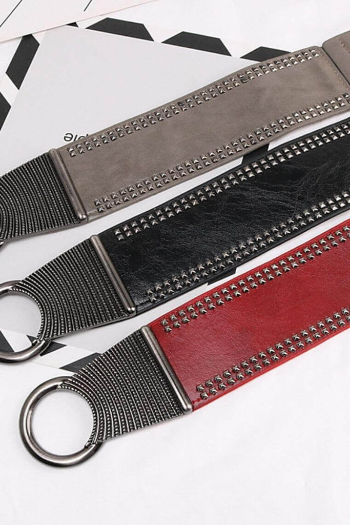 "Punky 3.4"" wide Vegan Belt with Pyramid Studs & Elastic Band"
