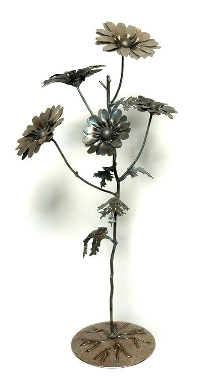 Hand-Cut Steel Flowers with Detachable Base