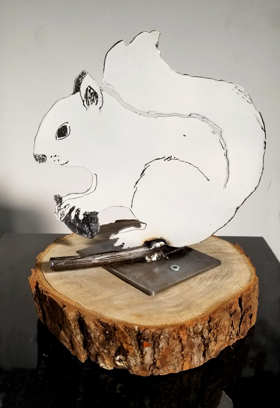 White Squirrel with Wood Stand