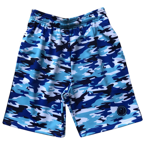 Boys Camo Lacrosse Shorts - Blue