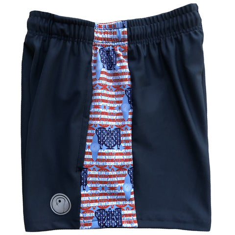 Womens American Flag Lacrosse Shorts - Navy
