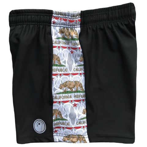 Womens California Flag Lacrosse Shorts - Black