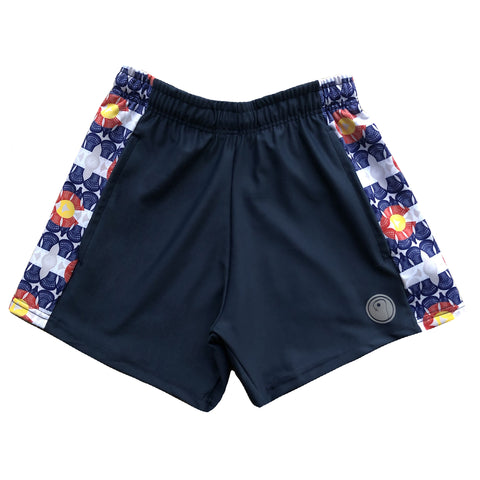 Womens Colorado Flag Lacrosse Shorts - Navy