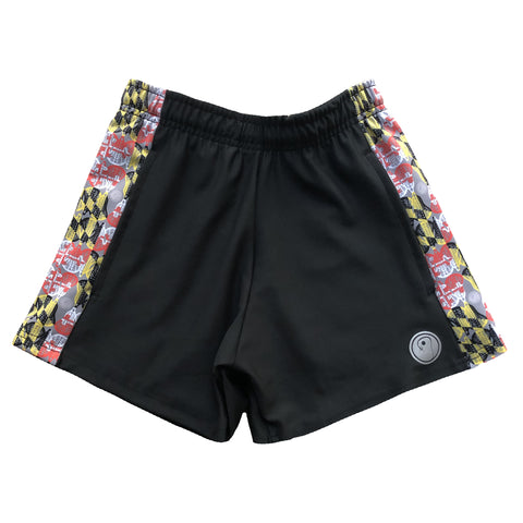 Womens Maryland Flag Lacrosse Shorts - Black