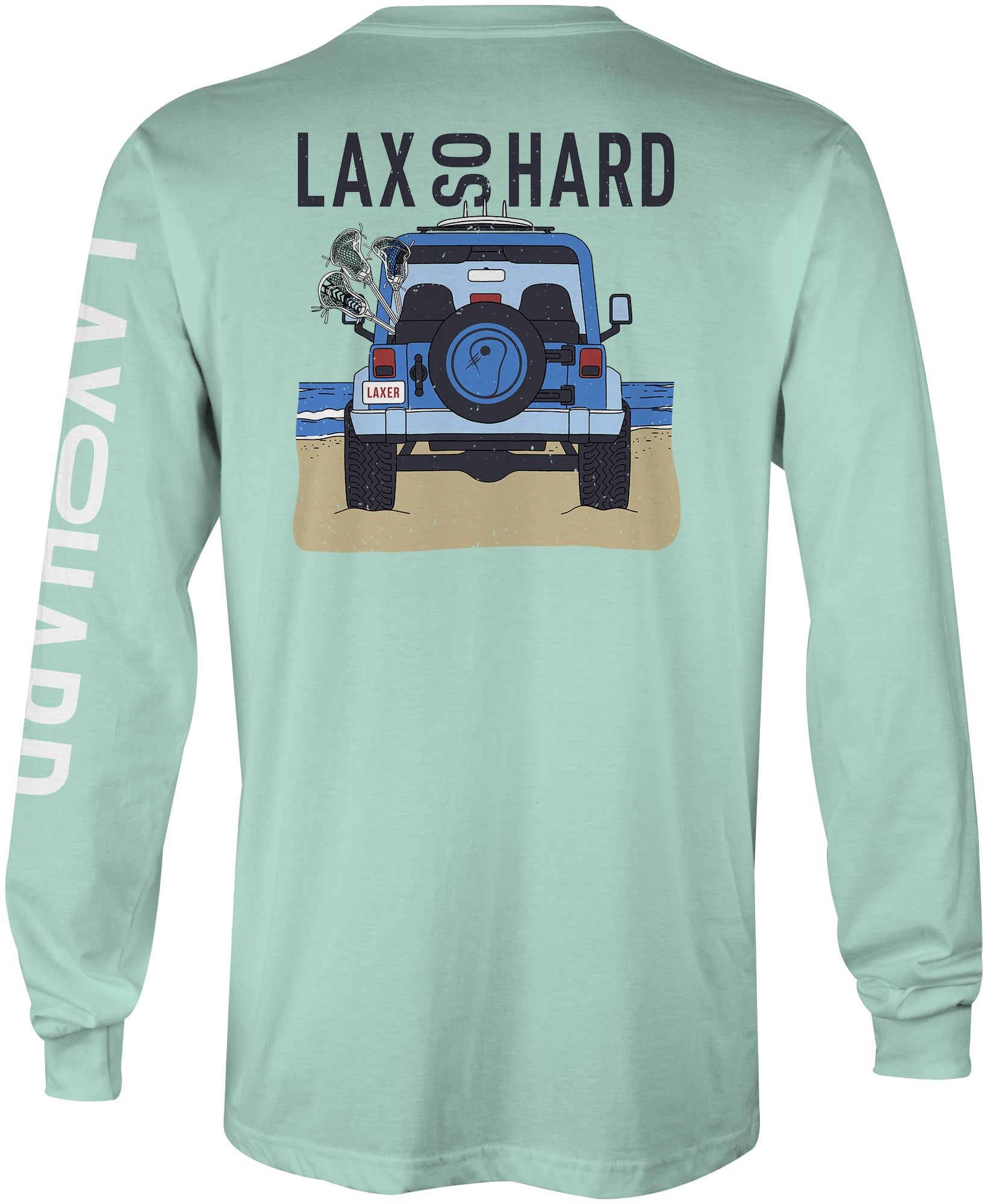 Mens Beach Lacrosse Jeep Long Sleeve T-Shirt - Mint