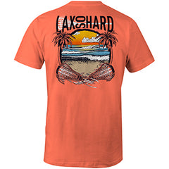 Mens Beach Lacrosse T-Shirt - Coral