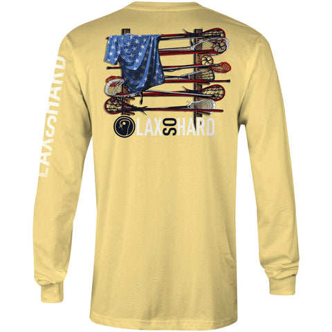 Mens Lacrosse Stick American Flag Long Sleeve - Yellow