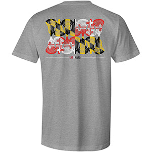Mens Maryland Lacrosse T-Shirt Athletic Gray