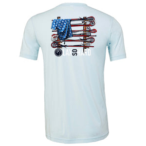 Boys Lacrosse Stick American Flag - Ice Blue