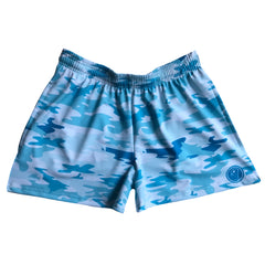 Womens Camo Lacrosse Shorts - Beach Blue