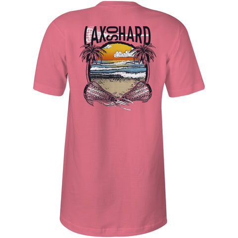 Women's Beach Lacrosse V-Neck T-Shirt - Pink