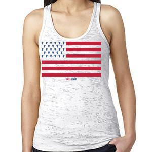Womens American Flag Racer Back Tank - White