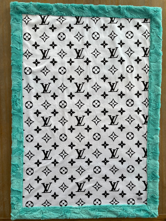READY TO SHIP - Baby blanket -LV/Seaglass Hide