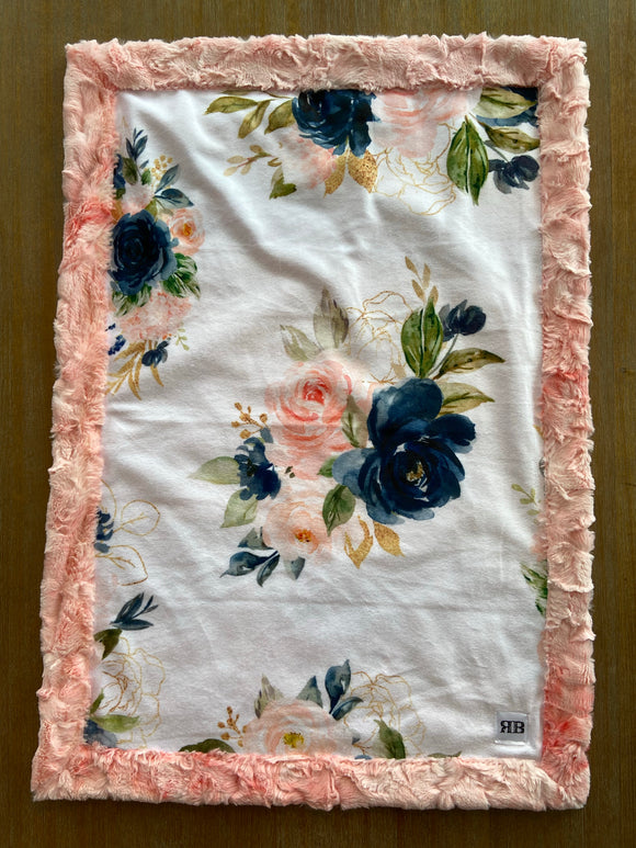 READY TO SHIP - Car seat Blanket - Coral & Navy Floral on Blossom