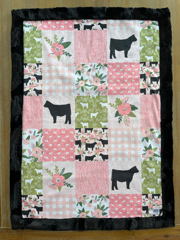 READY TO SHIP - Baby blanket - Pink & Green Cows/Black Hide