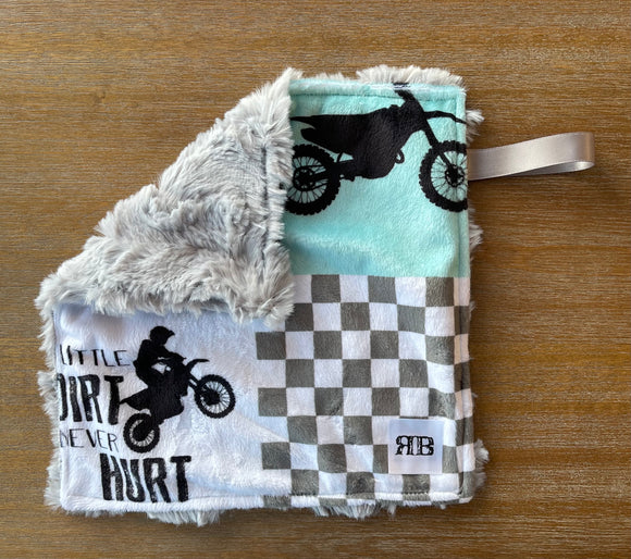 READY TO SHIP - Soother Blanket -Motocross/Silver Hide