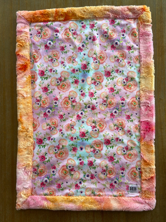 READY TO SHIP - Car seat Blanket - Mickey Roses on Sunset Sorbet
