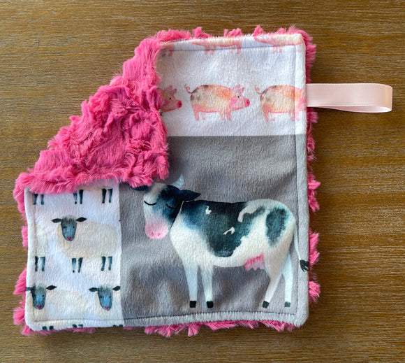 READY TO SHIP - Soother Blanket -Cow/Carnation Demi Rose