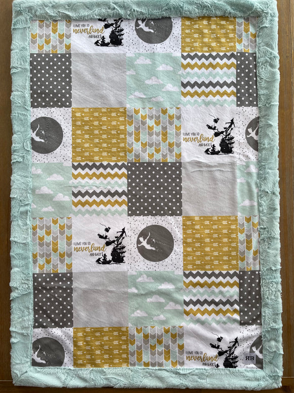 READY TO SHIP - Baby blanket - Peter Pan/Breeze Hide