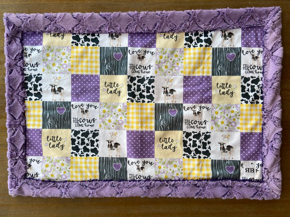 READY TO SHIP - Car seat Blanket - Lilac til the cows come home on Frosted Gem