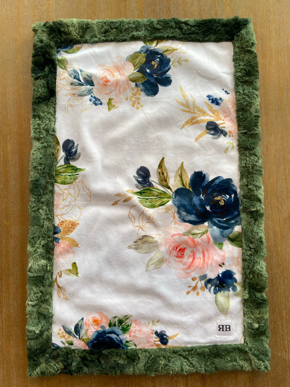 READY TO SHIP - Car seat Blanket Coral & Navy Floral on Olive