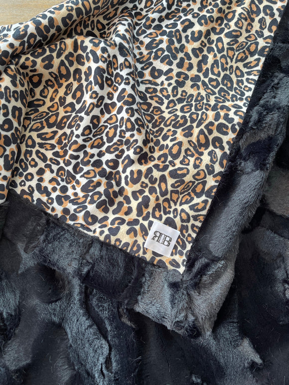 READY TO SHIP - Baby blanket -Cheetah/Black Hide