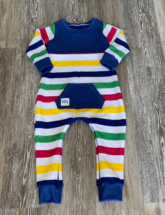 READY TO SHIP - Rustic Romper - Striped Navy - Size 2