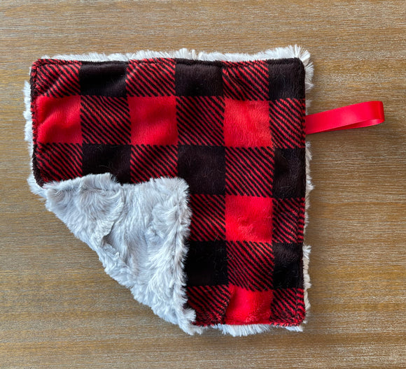 READY TO SHIP - Soother Blanket -Buffalo Plaid/Silver Hide