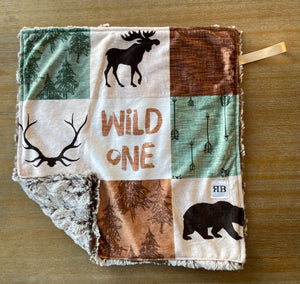 READY TO SHIP - Cuddle Blanket - Wild One/Brown hide