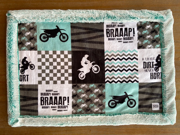 READY TO SHIP - Car seat Blanket - Mint Motocross on Frosted Breeze
