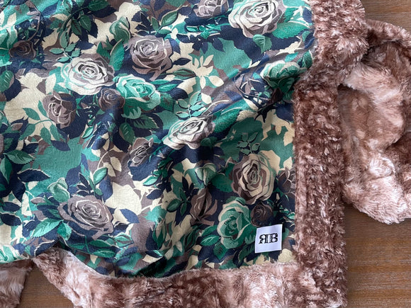 READY TO SHIP - Baby blanket - Camo Roses/ Cappuccino Fawn