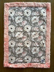 READY TO SHIP - Car seat Blanket - Grey floral on Blossom