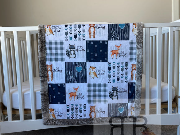 READY TO SHIP - Crib blanket - Forest Friends/Fawn