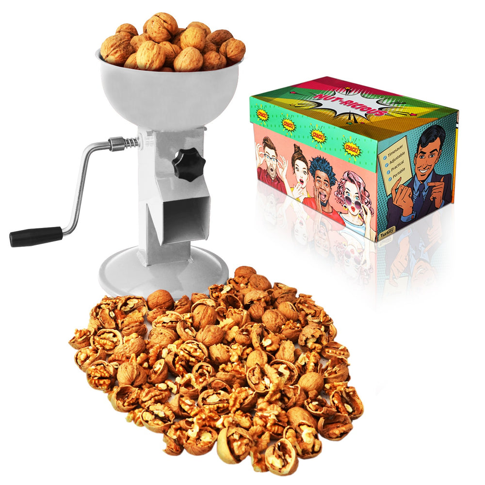 All-Steel Nut Cracker For All Nuts - Easy to Use and Portable - WHITE