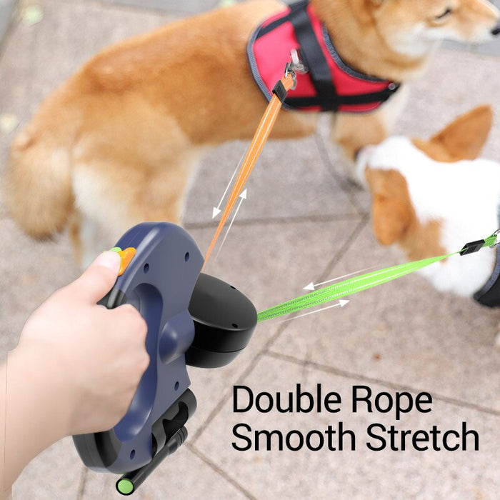 Two Dogs Retractable Leash With Light