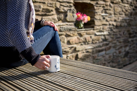 Drinking Coffee Outside On Decking