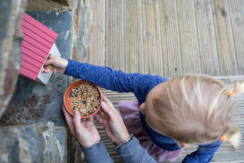 Child Leaving out Feed for Birds