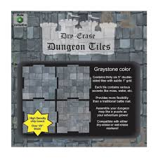 Dry Erase Dungeon Tiles: Graystone - Combo Pack of 5 Ten Inch and 16 Five Inch Squares