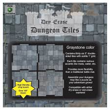 Dry Erase Dungeon Tiles: Graystone - Pack of 36 Five Inch Squares