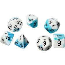 7-Die Set Gemini: Teal-White/Black