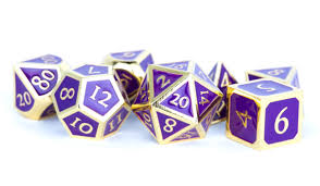 7-Die Set Metal: Gold with Purple Enamel