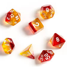 RPG Dice Set (7): Yellow, Red Translucent