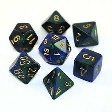 7-Die Set Gemini: Blue-Green/Gold
