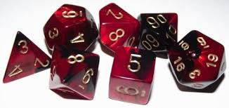 7-Die Set Gemini: Black-Red/Gold