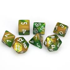 7-Die Set Gemini: Gold-Green/White
