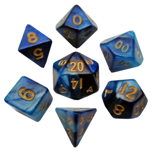 7-Die Set Combo: 10mm Dark Blue-Light Blue/Gold