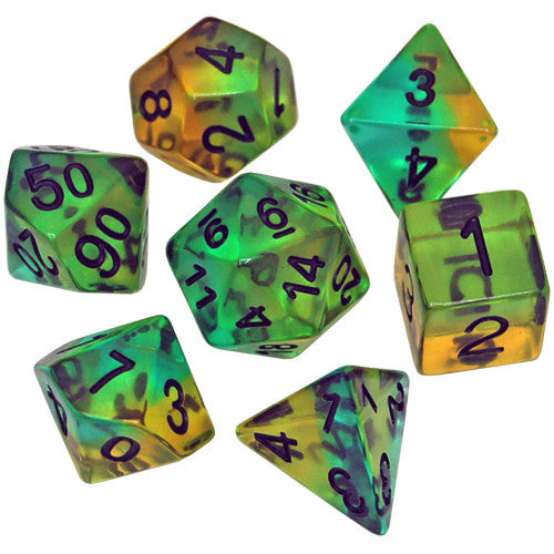 RPG Dice Set (7): Mojito Semi-Transparent Resin