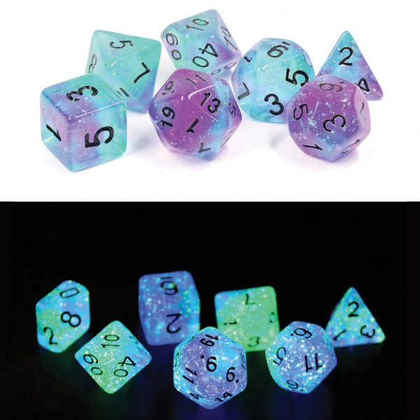 RPG Dice Set (7): Peacock Glowworms