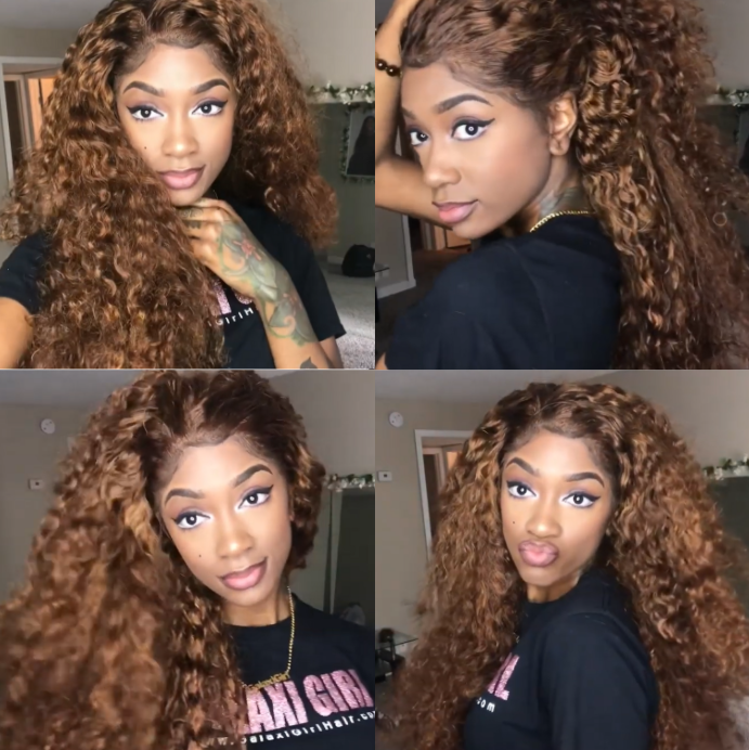 ¡¾Popular Series¡¿Curly 360 Lace Frontal 100 % Natural Wig | No work Needed Lace WIG