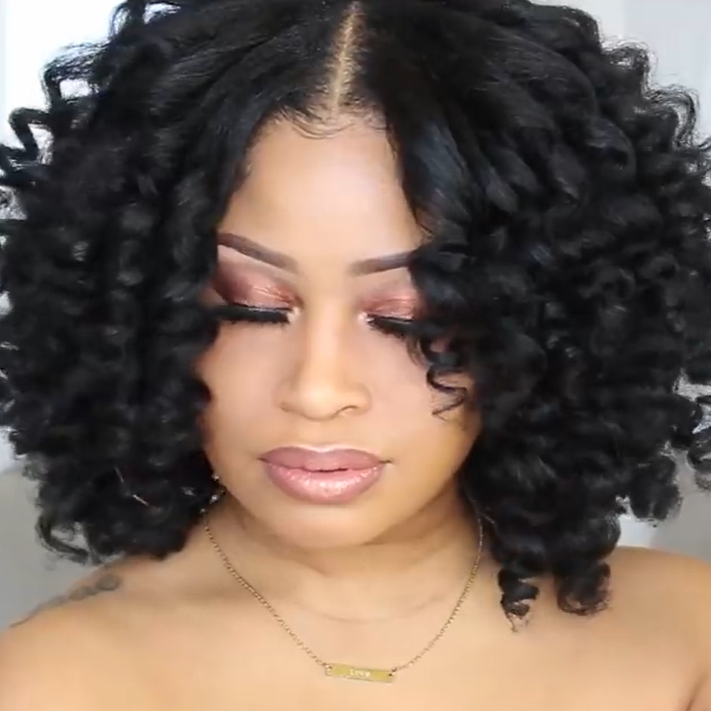 Glueless Short Bob Curly Front Wig